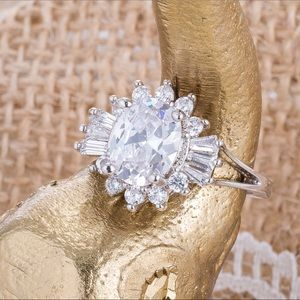 3 Ct. Oval~Round~Baguette Simulated Diamond Ring